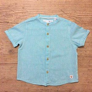 ZARA camisa social linho azul mg curta 18 -24 meses