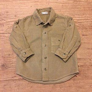 UPIA camisa social veludo caqui P 6-12 meses