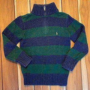 RALPH LAUREN casaco de linha listras azul e verde 6 anos