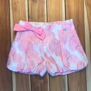 BYBLOS short brocado rosa 7 anos