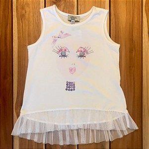 BABY ARMANI camiseta branca tule na barra 24 meses