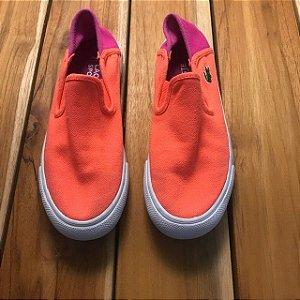LACOSTE tênis laranja e rosa BRA 29