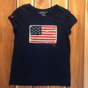 RALPH LAUREN camiseta marinho bandeira USA 6 anos