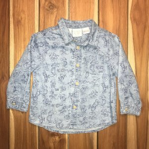 ZARA camisa social jeans mickey 9-12 meses