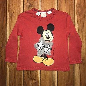ZARA camiseta mg longa vermelha MICKEY 9-12 meses