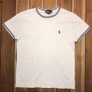 RALPH LAUREN camiseta lisa branca det marinho 8 anos (pequenas manchas)