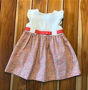 EPK vestido gorgorão flores e faixa salmão 12 meses
