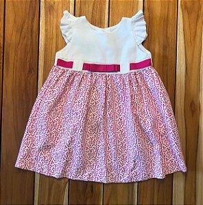 EPK vestido gorgorão branco flores e faixa rosa 18 meses