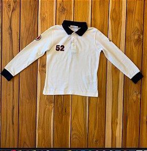 MONCLER camisa polo branca hola marinho mg longa 4 anos