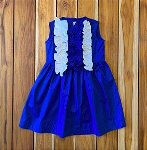 IL GUFO vestido algodão azul royal babado branco 3 anos