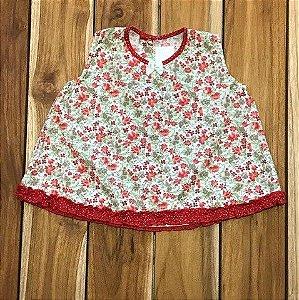 vestido algodao flores vermelhas e verde 4 meses