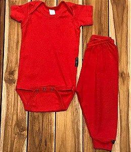 BEBE BASICO conjunto de malha body e calca vermelha 9-12 meses