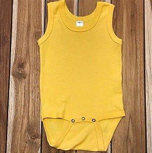 BEBE BASICO body sem manga amarelo 9-12 meses