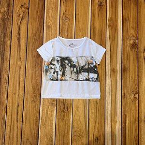 ALPHABETO GIRLS camiseta branca skater GIRLS flores aplicadas 6 anos