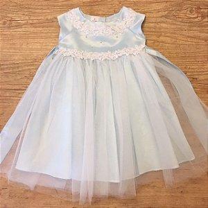 KIDS COLLECTION vestido cetim com tule azul claro 18-24 meses