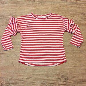 H&M camiseta listras vermelhas 2-4 anos