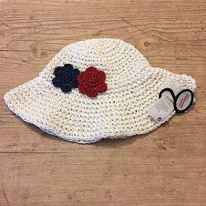 YOUNG DIMENSION chapéu branco flores aplicadas 2-7 anos