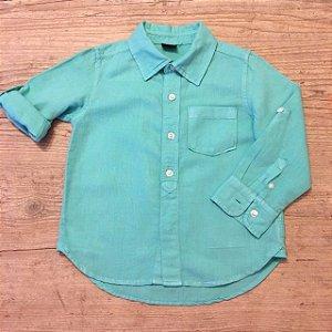 BABY GAP camisa social linho verde 3 anos