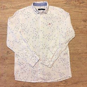 RICHARDS KIDS camisa social linho branca âncoras azuis 10-11 anos