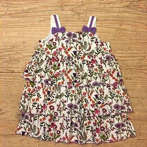 EPK vestido florido laços roxo 18 meses