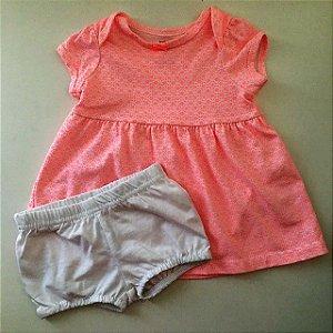 CARTERS vestido de malha c calcinha estp rosa 3 meses