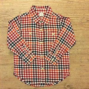 BABY GAP camisa social xadrez flanela vermelho azul e branco 3 anos