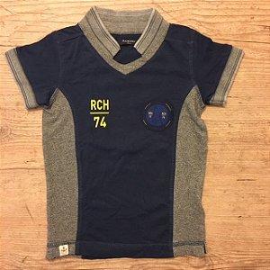 RICHARDS camisa polo marinho e cinza 4-5 anos