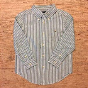 RALPH LAUREN camisa social Oxford listras verde e azul 4 anos