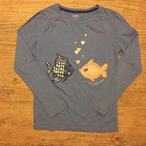 GYMBOREE camiseta Azul claro mg longa 7-8 anos