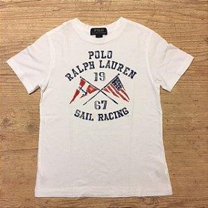 RALPH LAUREN camiseta branca Sail Racing 7 anos