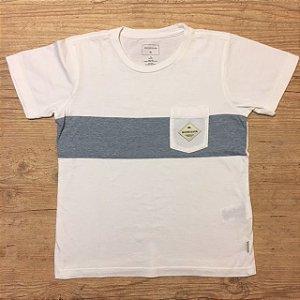 QUIKSILVER camiseta branca c bolso listras azuis finas 7 anos