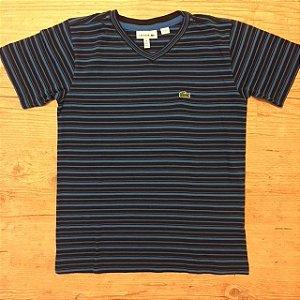 LACOSTE camiseta listras azul royal gola V 8 anos