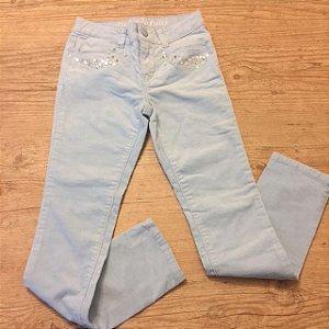 GYMBOREE calça de veludo azul claro com strass no bolso 7 anos
