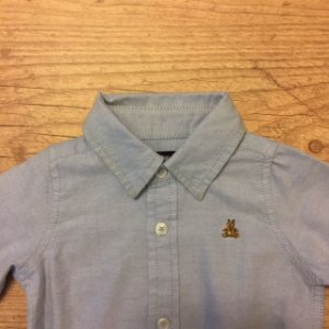 BABY GAP body camisa social oxford azul 0-3 meses