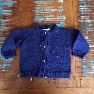 BK HOME casaco linha marinho aplicação pérolas 3-6 meses