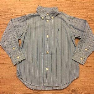 RALPH LAUREN camisa social  azul claro listras finas 3 anos
