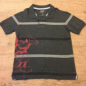 DISNEY camisa polo cinza listras  Mickey vermelho 6 anos