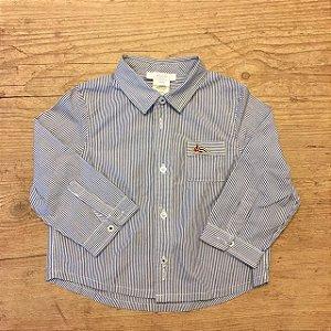 JACADI camisa social listras marinho 18 meses