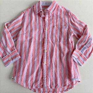 RICHARDS camisa social de linho rosa listras azul e branco 2-3 anos