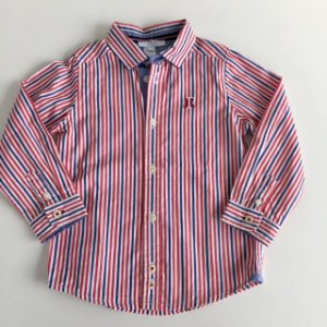 JACADI camisa social listras azul Branco e vermelho 3 anos
