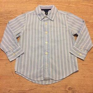 GAP KIDS camisa social azul listras brancas e azul 4 anos
