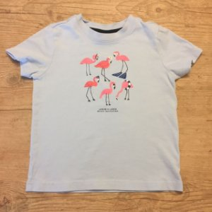 JANIE AND JACK camiseta azul claro estampa flamingo 3 anos