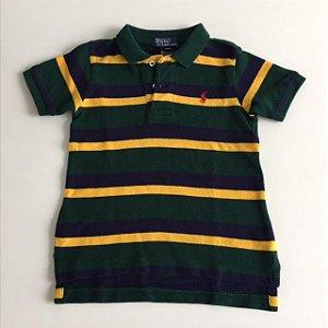 RALPH LAUREN camisa polo verde listras amarelo e azul 18 meses