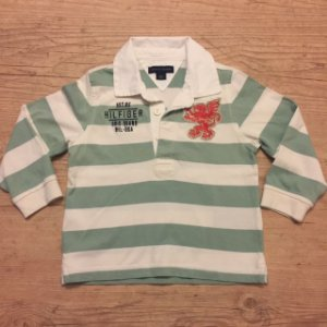TOMMY HILFIGER camisa polo mg comprida listras verde claro e Branco 2 anos