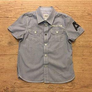 ARMANI JUNIOR camisa social mg curta listras finas azul e branco 4 anos