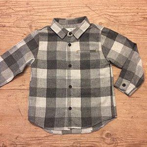 ZARA camisa social xadrez cinza 12-18 meses