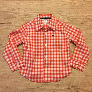 CARTERS camisa social quadriculada laranja e Branco 24 meses