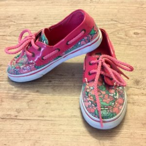 SPERRY top sider rosa estampado com lantejoulas 10,5 USA 26 BRA