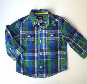 CARTERS camisa social xadrez azul e verde 18 meses