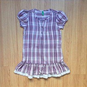BENETTON vestido xadrez lilás 3-4 anos